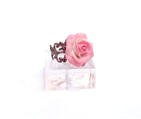 shabby chic gifts and accessories pink rose ring adjustable ring shabby chic cocktail ring handmade gifts bridal jewelry