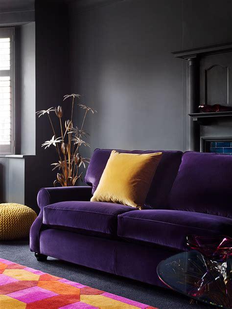 royally purple velvet sofas   living room