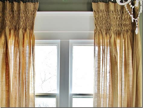 Get The Look Smocked Burlap Curtains  Thistlewood Farm. Which Way Should Hardwood Floors Run. Espresso Cabinets. Frank Lloyd Wright Style. Friv 4school. Roof Extension. Victorian Bed Frame. Arabian Nights Granite. Painted Brick Exterior