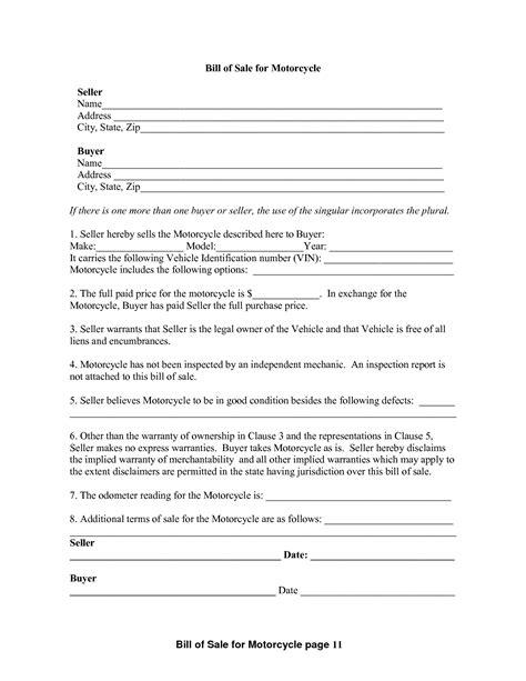 printable motorcycle bill  sale form generic