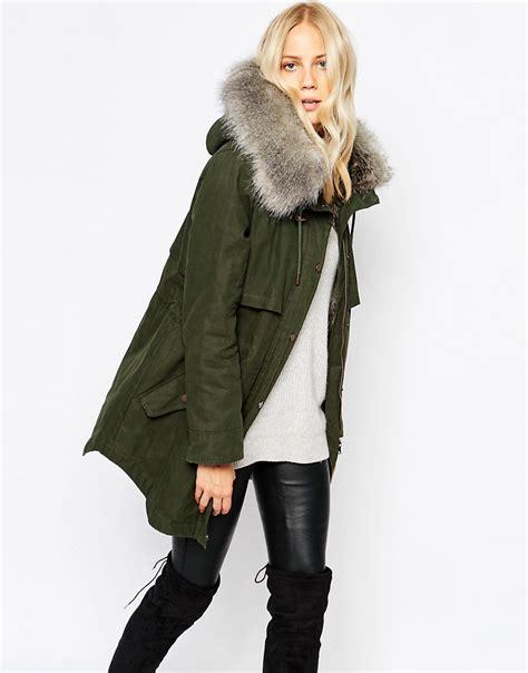 parka parka lara hooded coat in waxed cotton at asos