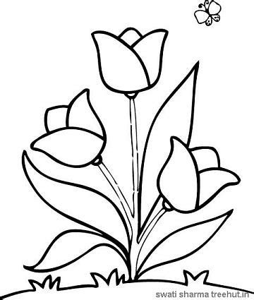 Coloring Easy by Easy Flower Coloring Pages