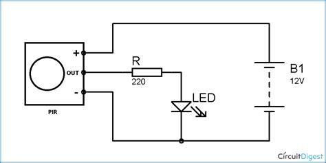 automatic room light control upon human presence pir sensor based motion detector sensor circuit diagram