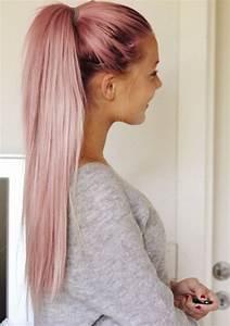 Couleur Cheveux Pastel : trends 2018 gold rose hair color couleur cheveux rose pastel queue de cheval longue ~ Melissatoandfro.com Idées de Décoration