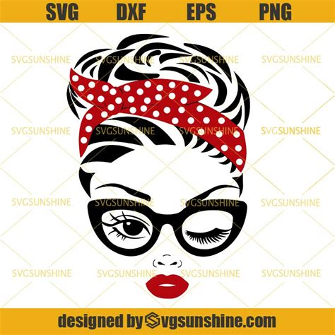 Are you searching for messy bun png images or vector? Messy Bun Bandana SVG, Mom with Bandana And Glasses SVG ...