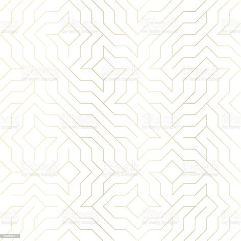 Seamless Vector Geometric Golden Line Pattern Abstract