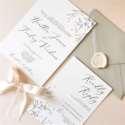 dainty romance wedding invitation and rsvp by eliza may