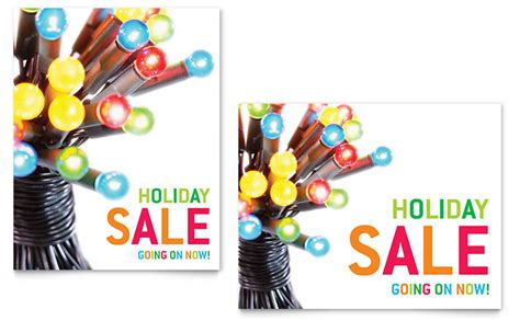 christmas lights sale poster template word publisher