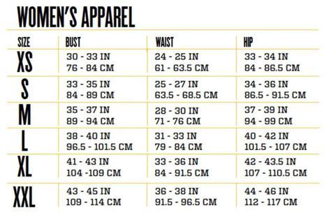 sizing chart persephone womens clothing