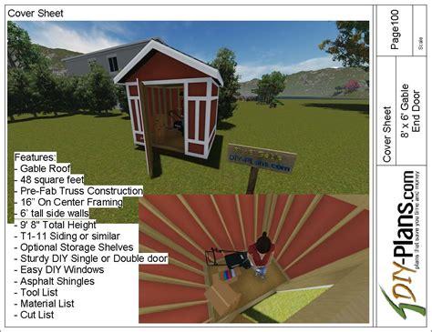 8x6 gable utility shed plan