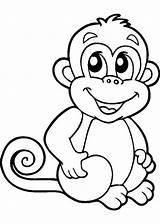 Coloring Monkey Colorear Para Monos Animal sketch template