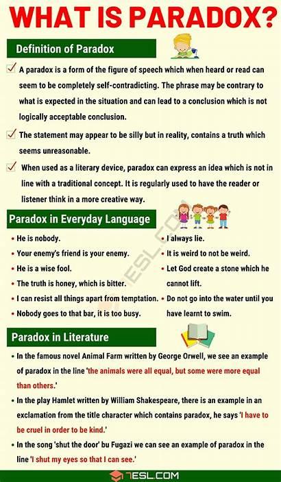 Paradox Examples Literature Definition Speech English 7esl