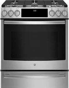 Ge Profile 4 Piece Appliance Package With Gfe28gskss Refrigerator  Pgs930selss Gas Range