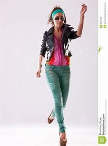 Woman Fashion Model Jumping Stock Photo Image 26587126