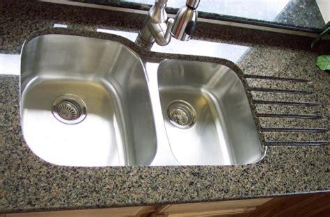 undermount double bowl kitchen sink in granite countertop