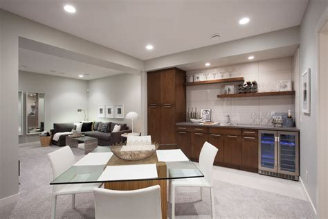 Wet bar cabinets basement contemporary with glass dining