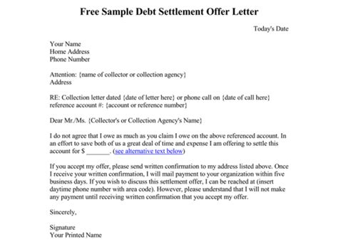 debt letter template  samples  word