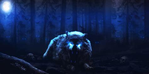 wallpaper wolf forest nightmare hd  animals