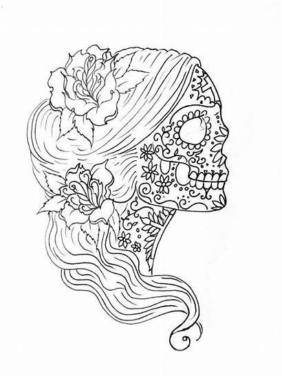 Coloring Pages Mindfulness Simple Skull Printable Drawing
