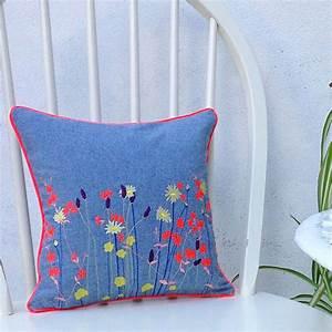 Wild, Flower, Embroidered, Denim, Cushion, By, Paper, Cutts, Designs