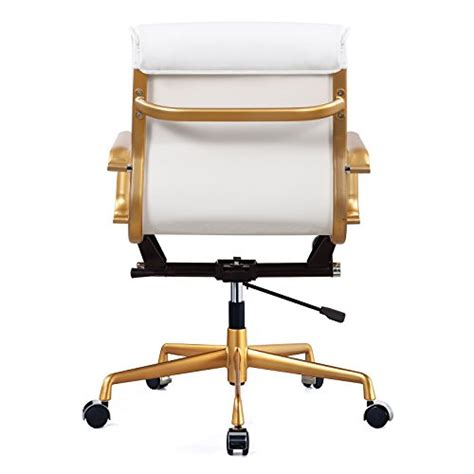 meelano 330 gd whi vegan leather office chair gold white