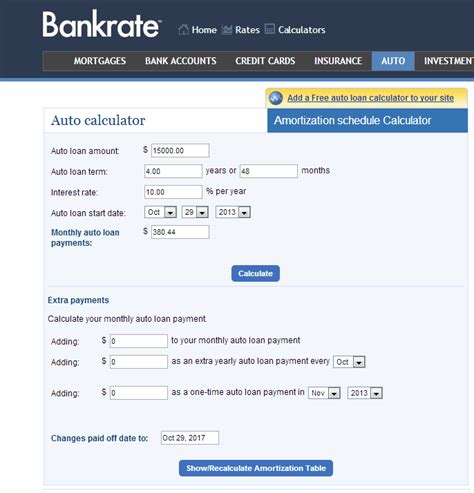 car loan calculator  select  auto loan