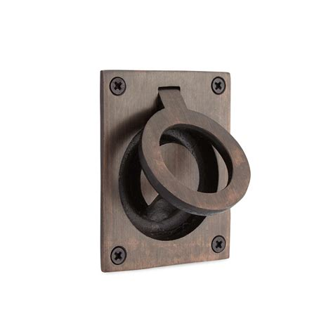 rectangular pocket door pull with oval recession hardware