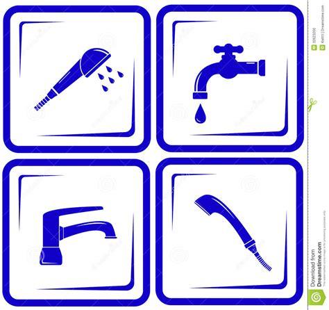 bathroom design program set water supply faucet mixer tap valve icon stock photo