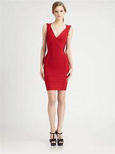 lyst herve leger vneck bandage dress in red With herve leger robe bandage