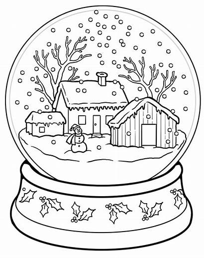 Coloring Christmas Snow Globe Pages Adults Sheets
