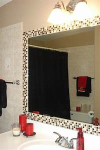 Simple way to dress up a plain bathroom mirror add tile