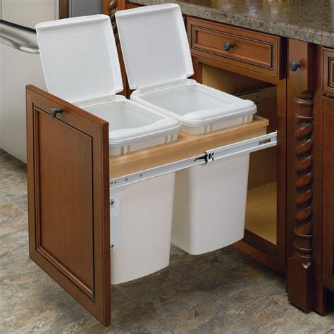 kitchen corner cabinet trash can pull out rev a shelf double trash pullout 35 quart wood 4wctm