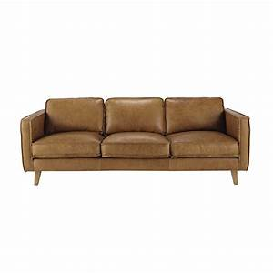 3 seater leather vintage sofa in camel hipster maisons With canapé cuir vintage occasion