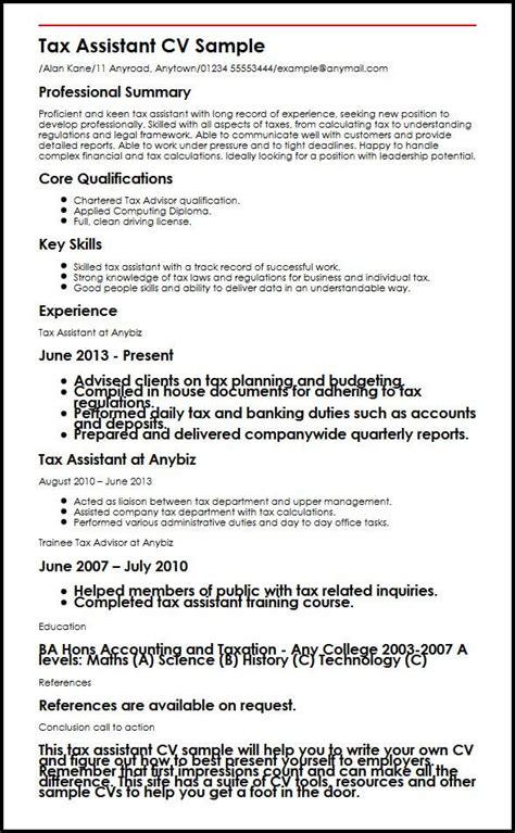 Eg Of Cv by Tax Assistant Cv Sle Myperfectcv
