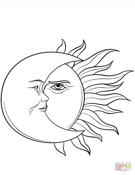 sun  moon coloring page  printable coloring pages