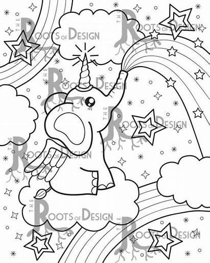 Coloring Unicorn Elephant Pages Gel Corn Pens