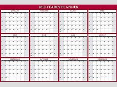 2019 Editable Yearly Calendar Template