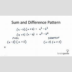 Factorization Using Difference Of Squares  Ck12 Foundation