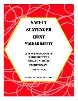 walker safety scavenger hunt  ages worksheets