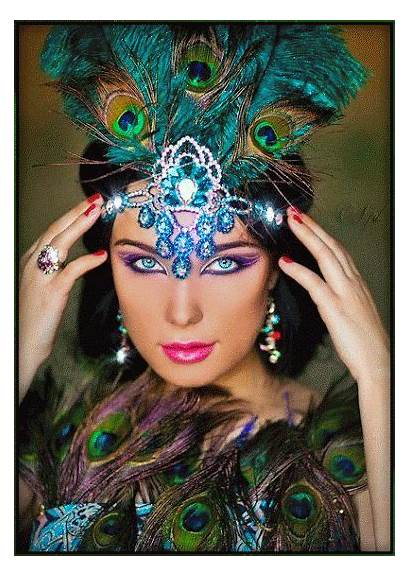 Animated Exotic Gifs Woman Peacock Lady Digital