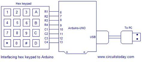 interfacing hex keypad  arduinofull circuit diagram
