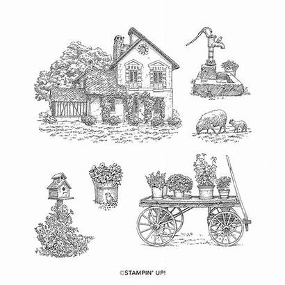 Countryside French Stamp Cling Stampin