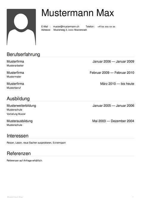 lebenslauf vorlage schweiz dokument blogs