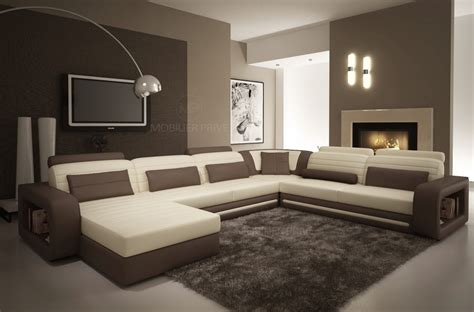 canapé d angle cuir chocolat canape chocolat et meuble blanc laque