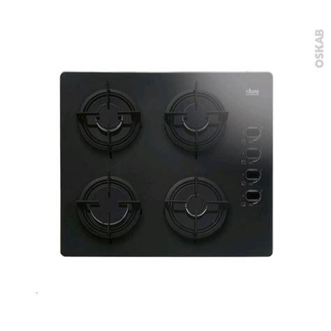 plaque verre cuisine plaque de cuisson 4 feux gaz 60 cm verre noir faure