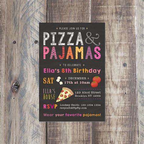 pizza  pajamas invitation kids birthday girls