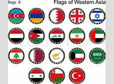 Flags of Western Asia Flags 8 Vector illustration