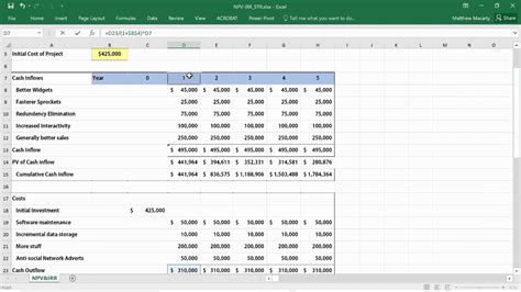 calculate npv irr roi  excel net present