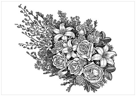 bouquets coloring pages coloring home