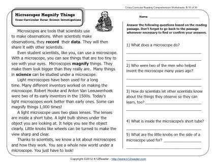 Microscopes Magnify Things  2nd Grade Reading Comprehension Worksheets